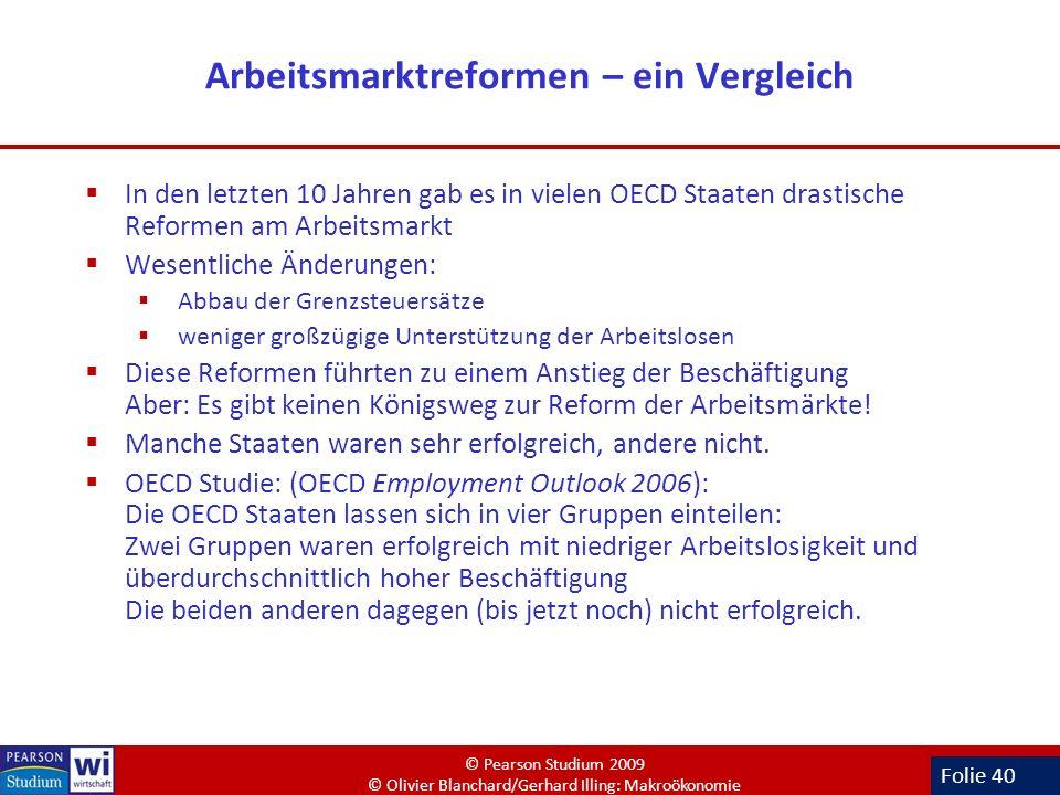 Folie 40 Arbeitsmarktreformen – ein Vergleich In den letzten 10 Jahren gab es in vielen OECD Staaten drastische Reformen am Arbeitsmarkt Wesentliche Ä