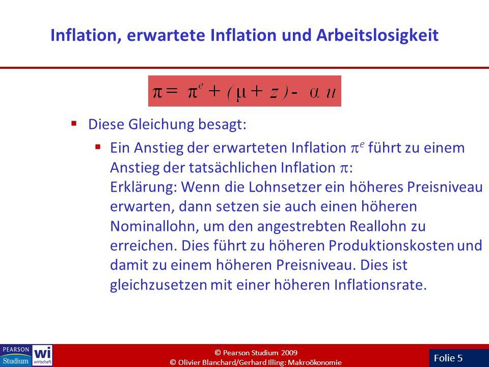 Folie 5 Inflation, erwartete Inflation und Arbeitslosigkeit Diese Gleichung besagt: Ein Anstieg der erwarteten Inflation e führt zu einem Anstieg der