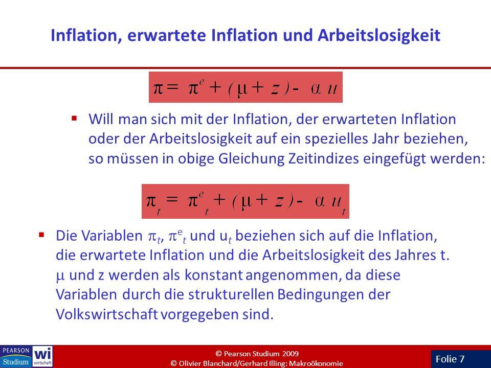 Folie 7 Inflation, erwartete Inflation und Arbeitslosigkeit Will man sich mit der Inflation, der erwarteten Inflation oder der Arbeitslosigkeit auf ei