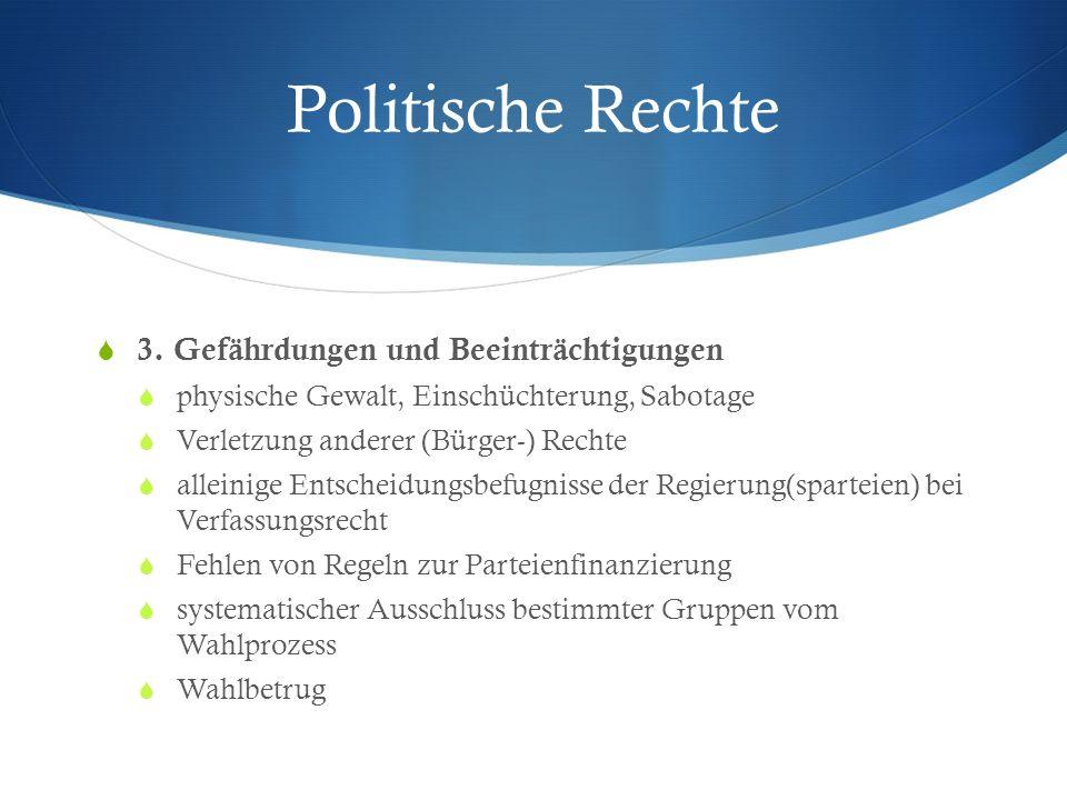 Politische Rechte 3. Gefährdungen und Beeinträchtigungen physische Gewalt, Einschüchterung, Sabotage Verletzung anderer (Bürger-) Rechte alleinige Ent