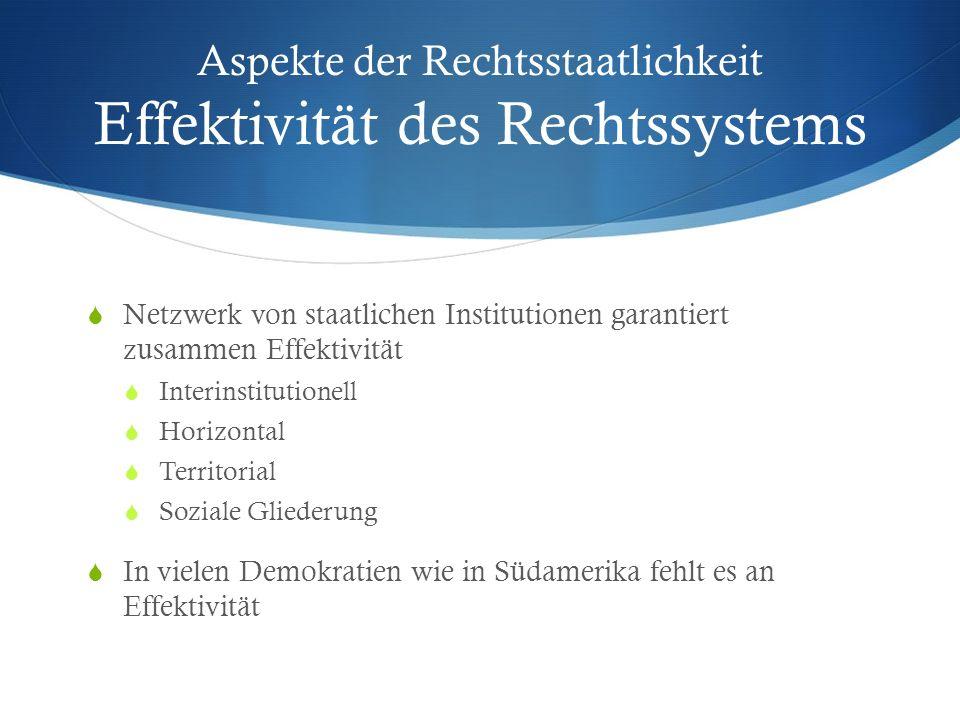 Aspekte der Rechtsstaatlichkeit Effektivität des Rechtssystems Netzwerk von staatlichen Institutionen garantiert zusammen Effektivität Interinstitutio