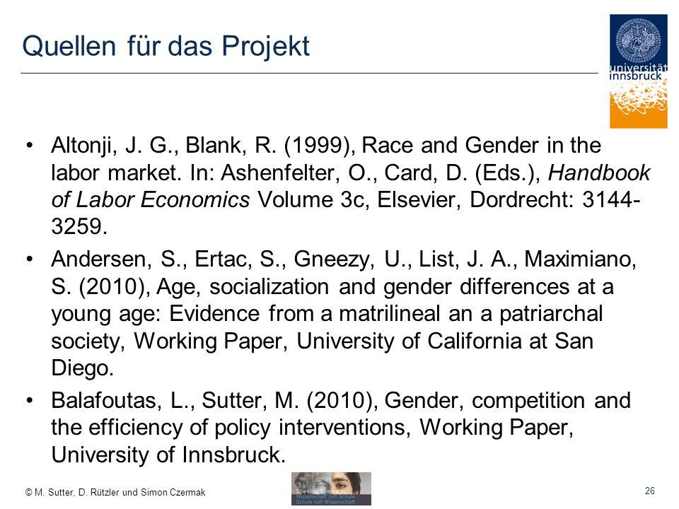 © M.Sutter, D. Rützler und Simon Czermak Quellen für das Projekt Altonji, J.