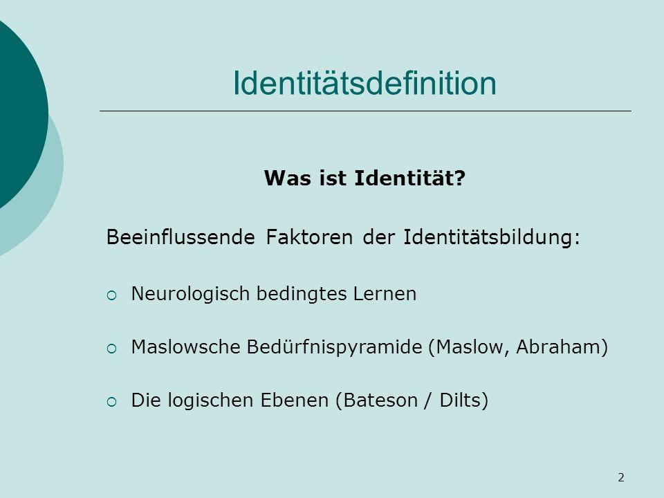 2 Identitätsdefinition Was ist Identität? Beeinflussende Faktoren der Identitätsbildung: Neurologisch bedingtes Lernen Maslowsche Bedürfnispyramide (M