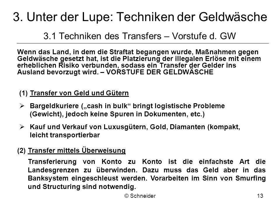 © Schneider13 3. Unter der Lupe: Techniken der Geldwäsche 3.1 Techniken des Transfers – Vorstufe d. GW Wenn das Land, in dem die Straftat begangen wur