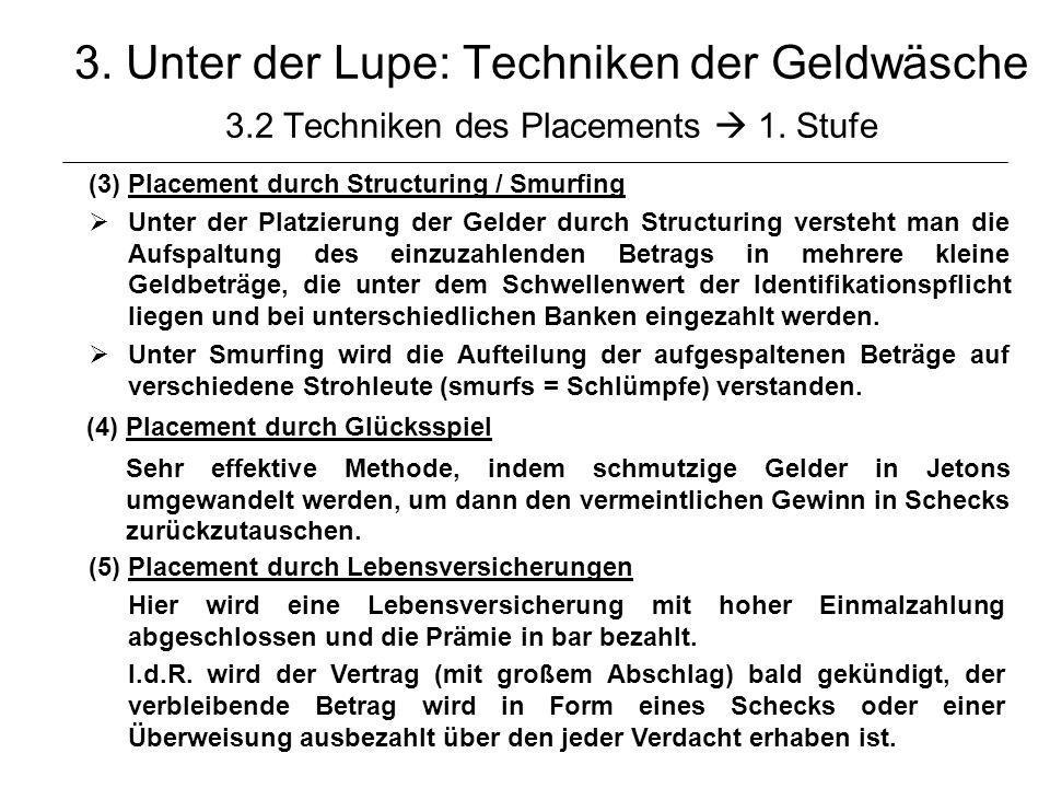 © Schneider17 3. Unter der Lupe: Techniken der Geldwäsche 3.2 Techniken des Placements 1. Stufe (3)Placement durch Structuring / Smurfing Unter der Pl