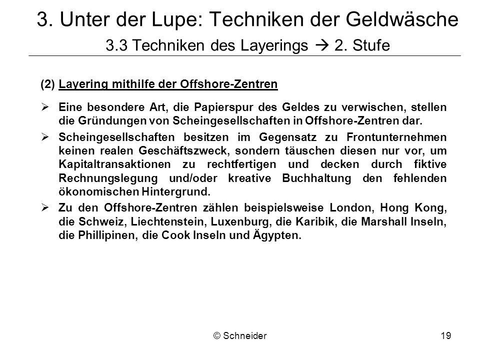 © Schneider19 3. Unter der Lupe: Techniken der Geldwäsche 3.3 Techniken des Layerings 2. Stufe (2)Layering mithilfe der Offshore-Zentren Eine besonder