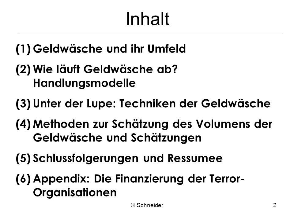 © Schneider13 3.Unter der Lupe: Techniken der Geldwäsche 3.1 Techniken des Transfers – Vorstufe d.