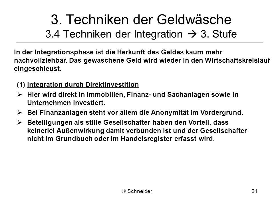 © Schneider21 3. Techniken der Geldwäsche 3.4 Techniken der Integration 3. Stufe In der Integrationsphase ist die Herkunft des Geldes kaum mehr nachvo