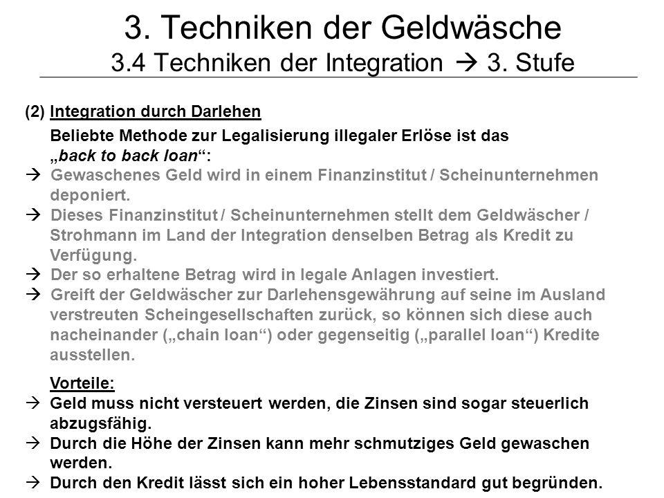 © Schneider22 3. Techniken der Geldwäsche 3.4 Techniken der Integration 3. Stufe (2)Integration durch Darlehen Beliebte Methode zur Legalisierung ille