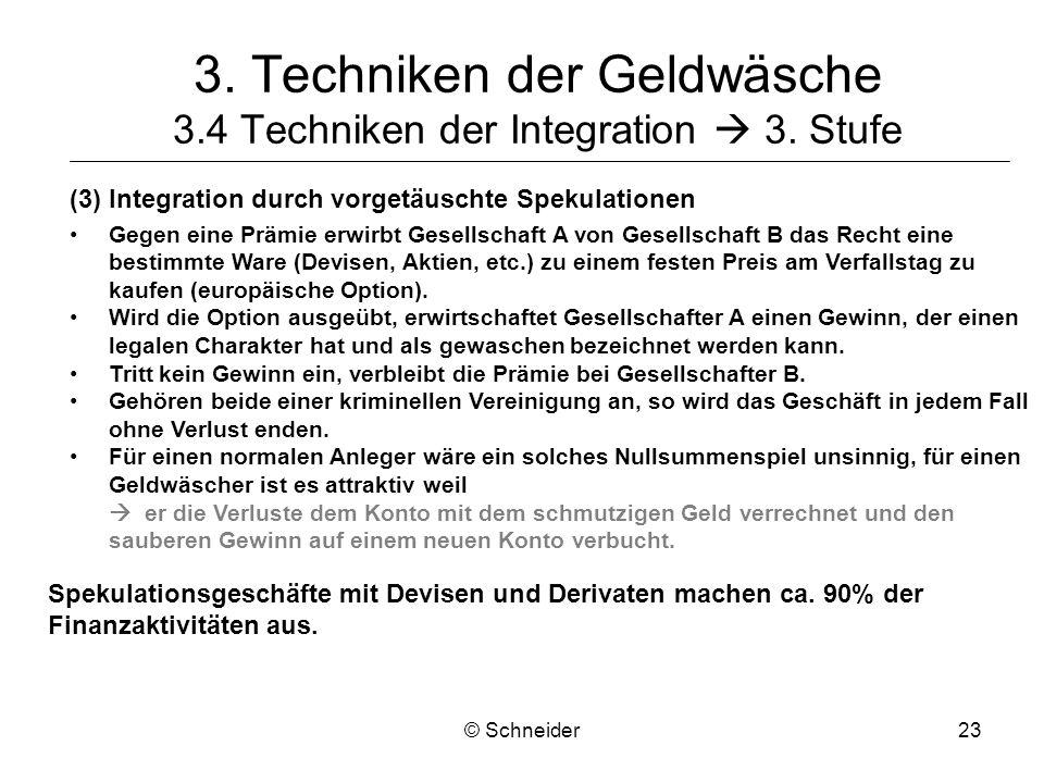 © Schneider23 3. Techniken der Geldwäsche 3.4 Techniken der Integration 3. Stufe (3)Integration durch vorgetäuschte Spekulationen Gegen eine Prämie er