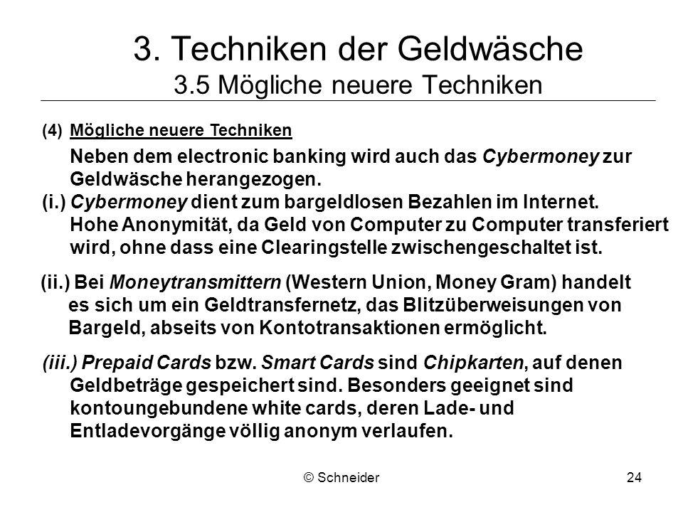 © Schneider24 3. Techniken der Geldwäsche 3.5 Mögliche neuere Techniken (4)Mögliche neuere Techniken Neben dem electronic banking wird auch das Cyberm