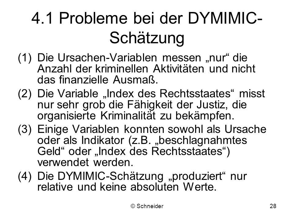 © Schneider28 4.1 Probleme bei der DYMIMIC- Schätzung (1)Die Ursachen-Variablen messen nur die Anzahl der kriminellen Aktivitäten und nicht das finanz