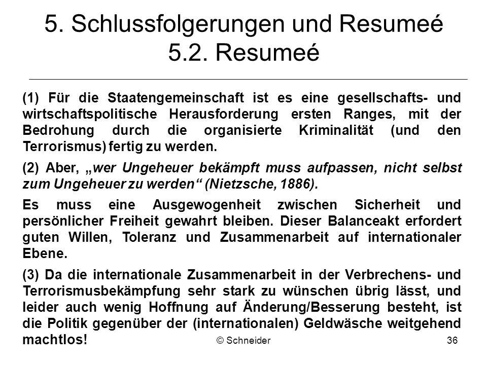 © Schneider36 5. Schlussfolgerungen und Resumeé 5.2. Resumeé (1) Für die Staatengemeinschaft ist es eine gesellschafts- und wirtschaftspolitische Hera
