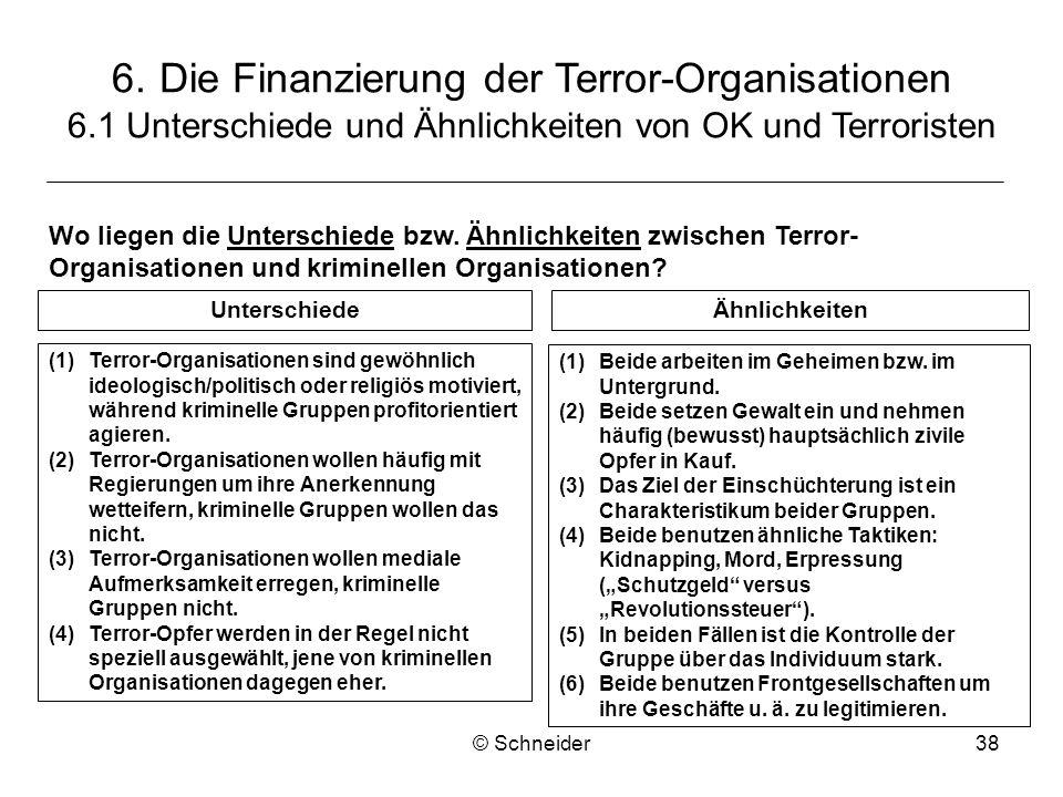 © Schneider38 (1)Terror-Organisationen sind gewöhnlich ideologisch/politisch oder religiös motiviert, während kriminelle Gruppen profitorientiert agie