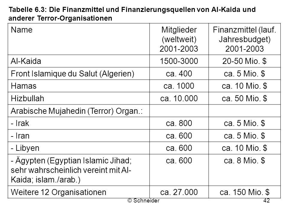 © Schneider42 NameMitglieder (weltweit) 2001-2003 Finanzmittel (lauf. Jahresbudget) 2001-2003 Al-Kaida1500-300020-50 Mio. $ Front Islamique du Salut (