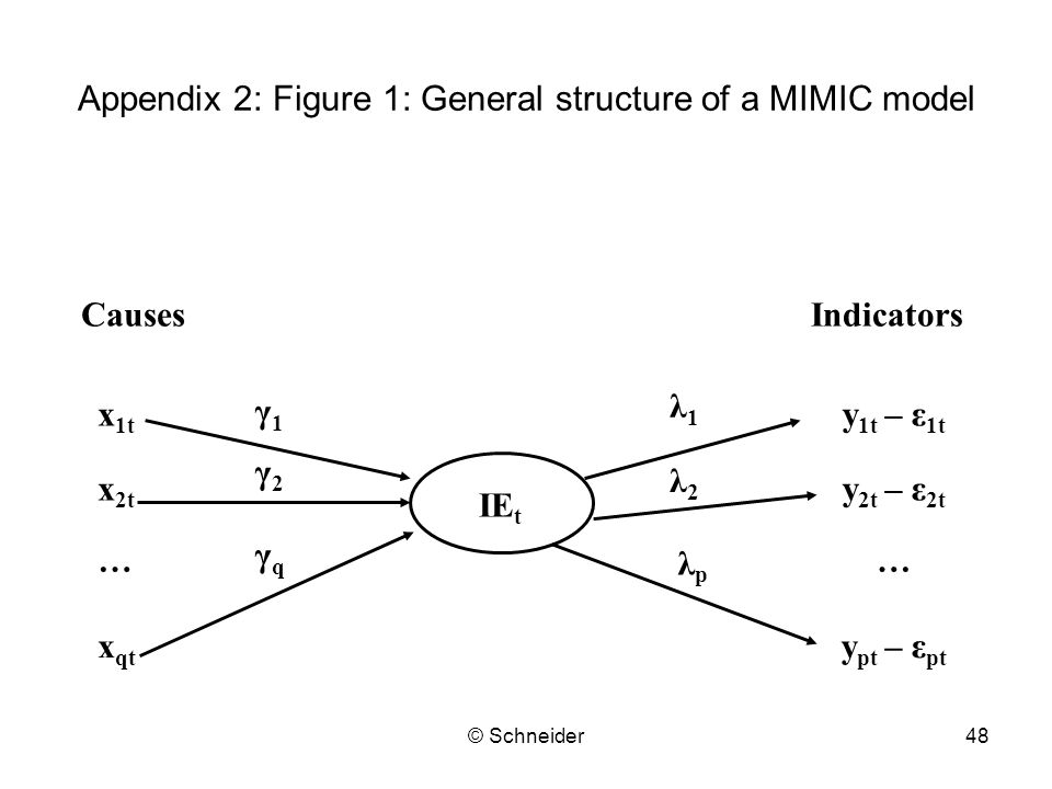 © Schneider48 Appendix 2: Figure 1: General structure of a MIMIC model CausesIndicators x 1t x 2t … x qt y 1t – ε 1t y 2t – ε 2t y pt – ε pt … IE t γ1