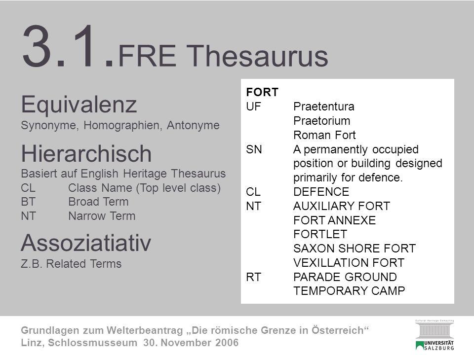 3.1. FRE-Thesaurus 2 Grundlagen zum Welterbeantrag Die römische Grenze in Österreich Linz, Schlossmusseum 30. November 2006 3.1. FRE Thesaurus Equival