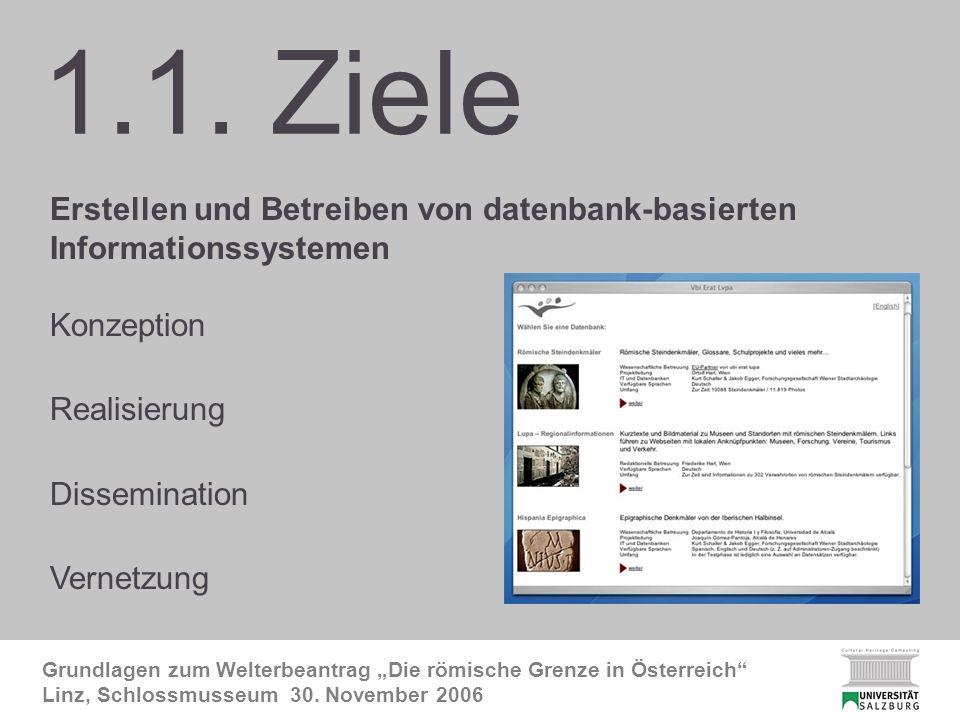 CHC-Ziele Grundlagen zum Welterbeantrag Die römische Grenze in Österreich Linz, Schlossmusseum 30.
