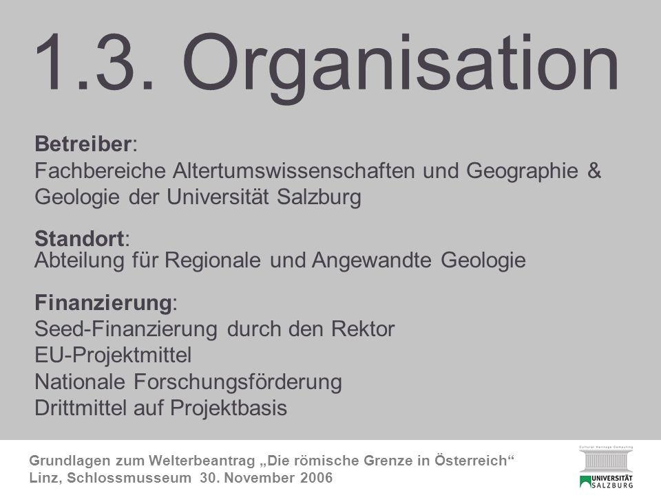 CHC-Organisation Grundlagen zum Welterbeantrag Die römische Grenze in Österreich Linz, Schlossmusseum 30.