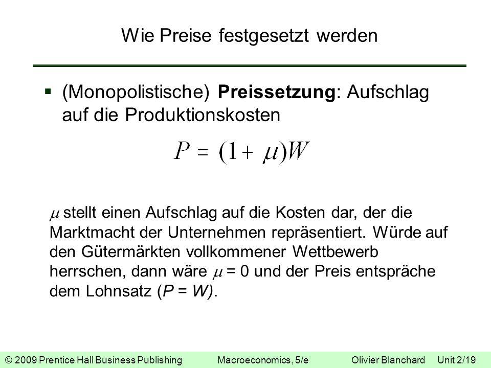 © 2009 Prentice Hall Business Publishing Macroeconomics, 5/e Olivier Blanchard Unit 2/19 Wie Preise festgesetzt werden (Monopolistische) Preissetzung: