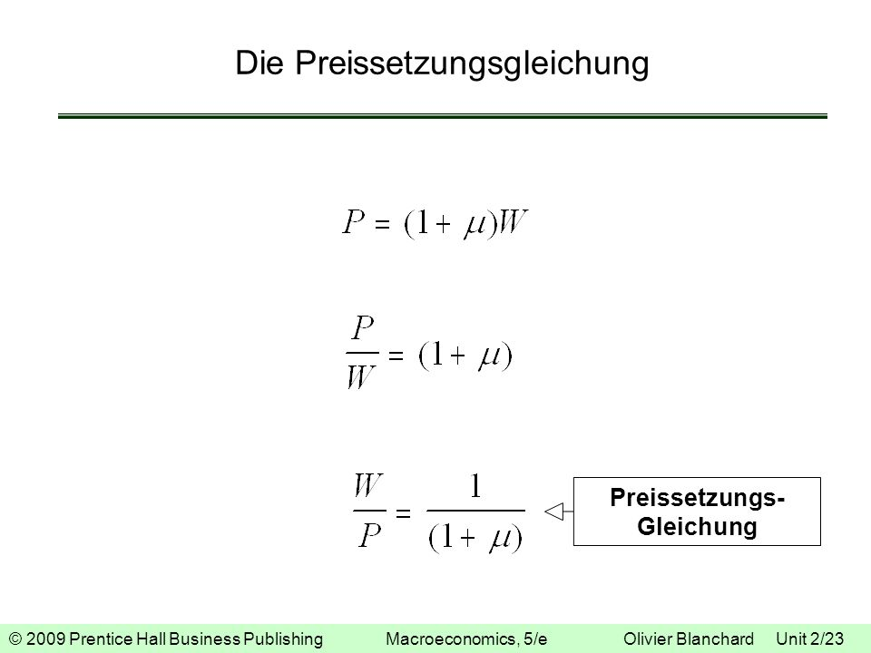© 2009 Prentice Hall Business Publishing Macroeconomics, 5/e Olivier Blanchard Unit 2/23 Die Preissetzungsgleichung Preissetzungs- Gleichung