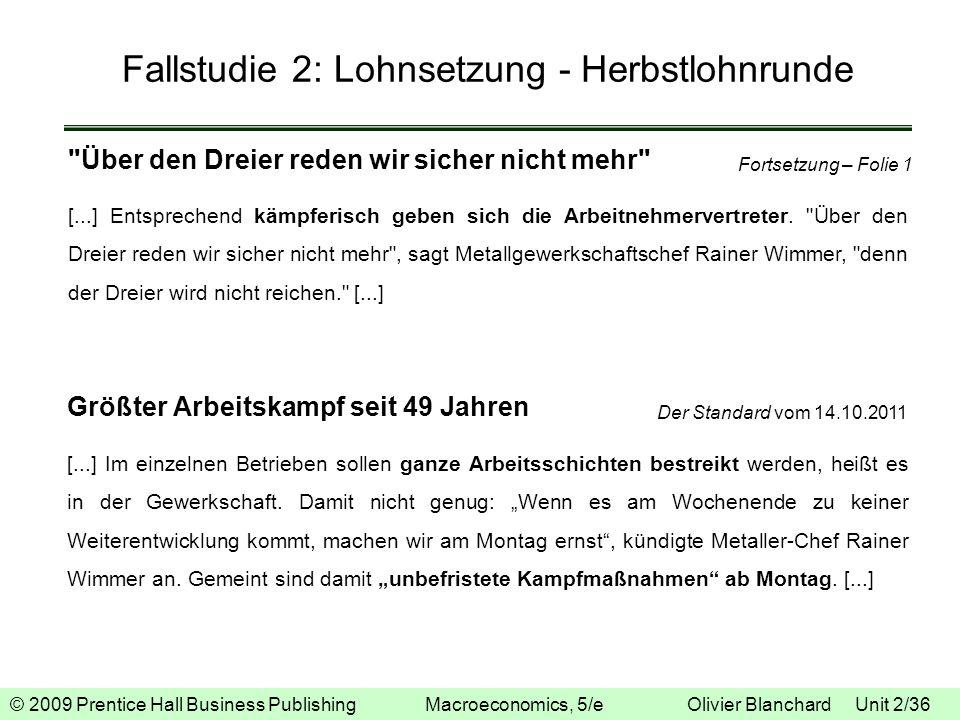 © 2009 Prentice Hall Business Publishing Macroeconomics, 5/e Olivier Blanchard Unit 2/36 Fallstudie 2: Lohnsetzung - Herbstlohnrunde