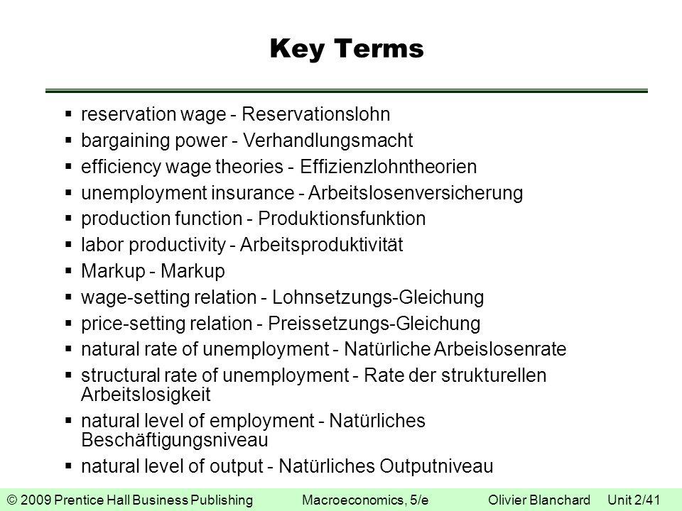 © 2009 Prentice Hall Business Publishing Macroeconomics, 5/e Olivier Blanchard Unit 2/41 Key Terms reservation wage - Reservationslohn bargaining powe