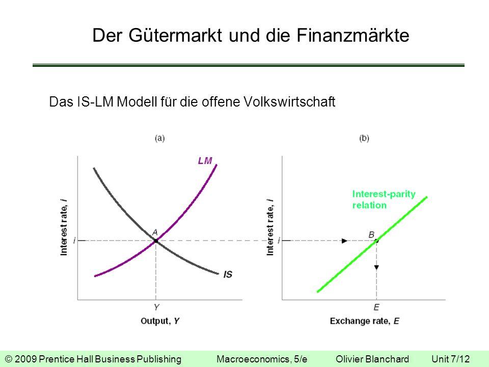 © 2009 Prentice Hall Business Publishing Macroeconomics, 5/e Olivier Blanchard Unit 7/12 Der Gütermarkt und die Finanzmärkte Das IS-LM Modell für die