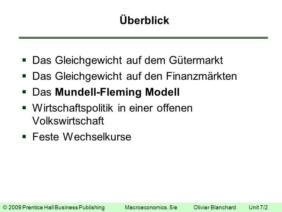 © 2009 Prentice Hall Business Publishing Macroeconomics, 5/e Olivier Blanchard Unit 7/2 Überblick Das Gleichgewicht auf dem Gütermarkt Das Gleichgewic