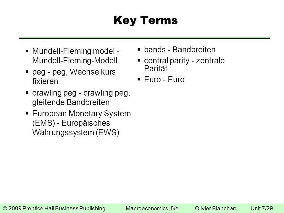 © 2009 Prentice Hall Business Publishing Macroeconomics, 5/e Olivier Blanchard Unit 7/29 Key Terms Mundell-Fleming model - Mundell-Fleming-Modell peg