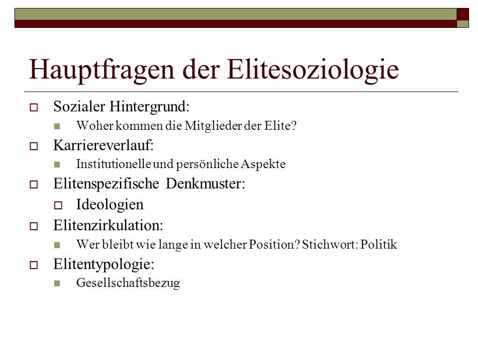 Hauptfragen der Elitesoziologie Sozialer Hintergrund: Woher kommen die Mitglieder der Elite? Karriereverlauf: Institutionelle und persönliche Aspekte