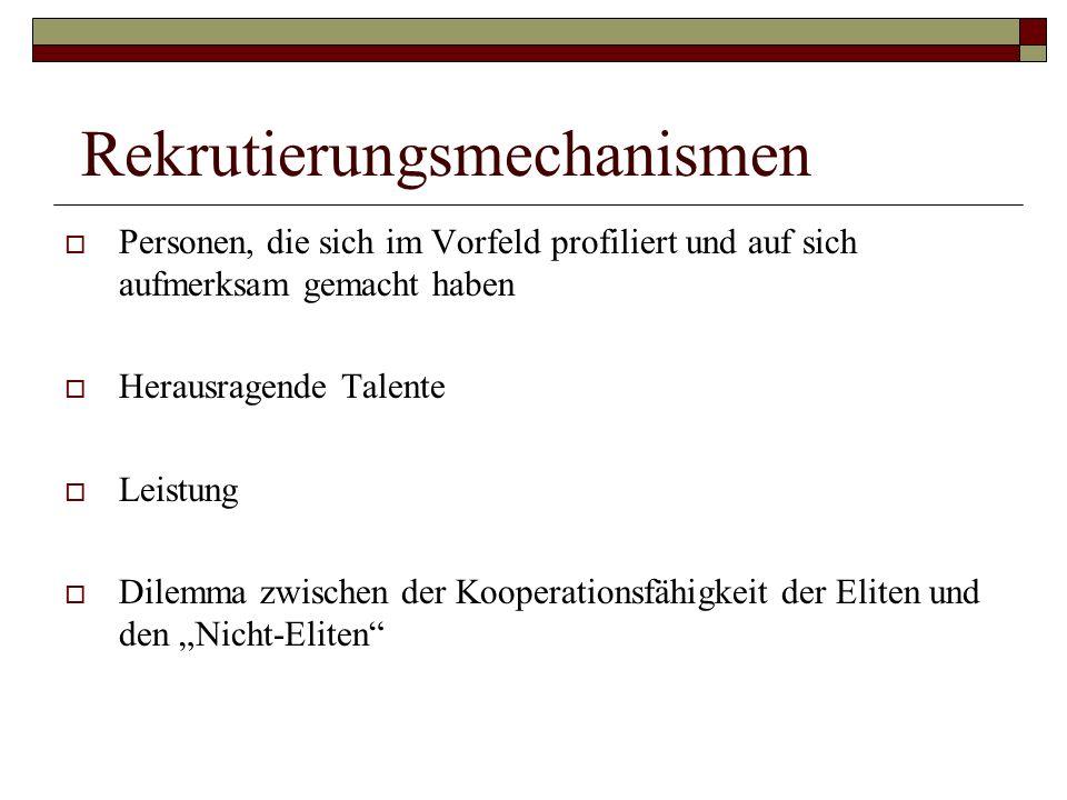 Rekrutierungsmechanismen Personen, die sich im Vorfeld profiliert und auf sich aufmerksam gemacht haben Herausragende Talente Leistung Dilemma zwische