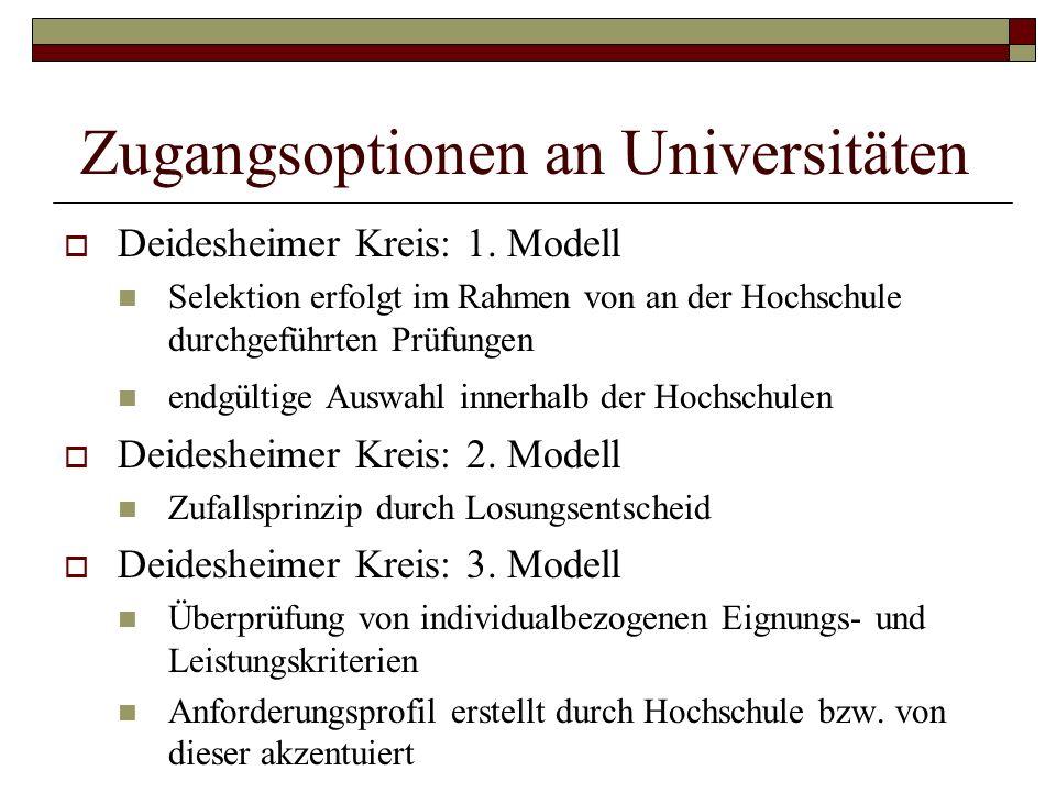 Zugangsoptionen an Universitäten Deidesheimer Kreis: 1. Modell Selektion erfolgt im Rahmen von an der Hochschule durchgeführten Prüfungen endgültige A