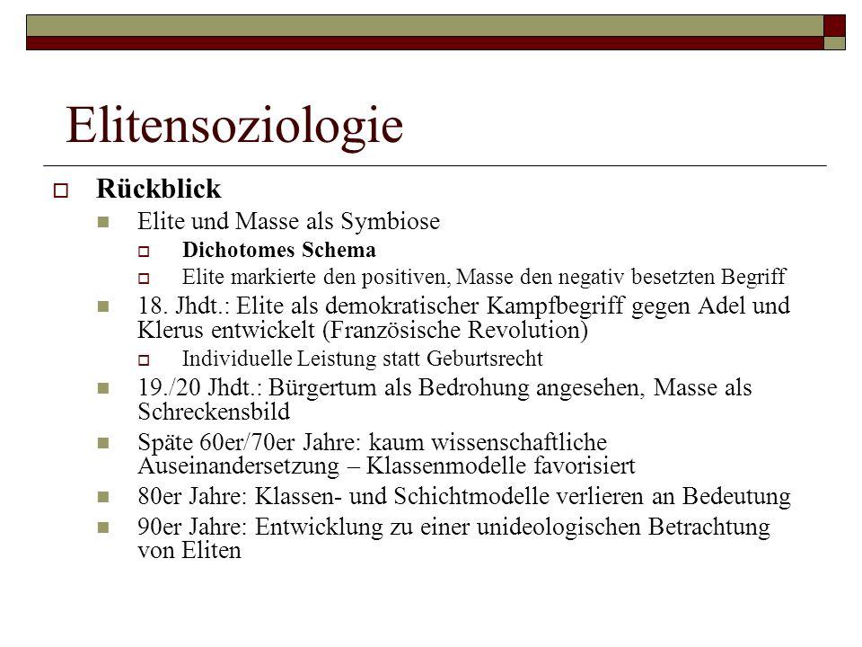 Elitensoziologie Rückblick Elite und Masse als Symbiose Dichotomes Schema Elite markierte den positiven, Masse den negativ besetzten Begriff 18. Jhdt.