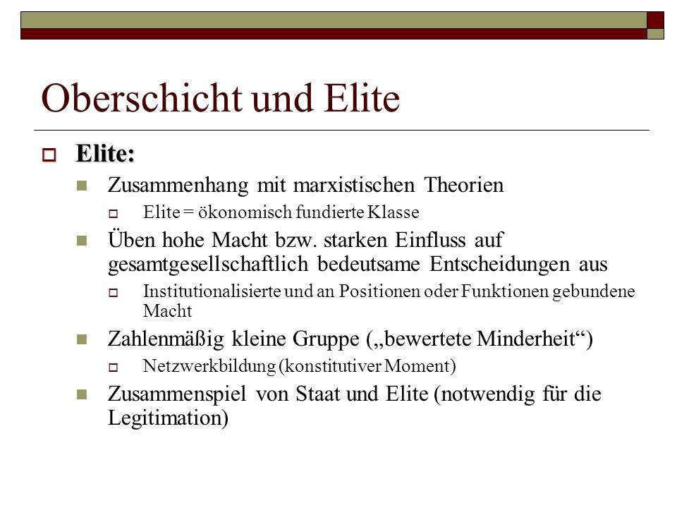 Oberschicht und Elite Elite: Elite: Zusammenhang mit marxistischen Theorien Elite = ökonomisch fundierte Klasse Üben hohe Macht bzw. starken Einfluss