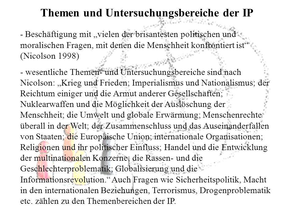 Themen und Untersuchungsbereiche der IP - Beschäftigung mit vielen der brisantesten politischen und moralischen Fragen, mit denen die Menschheit konfr