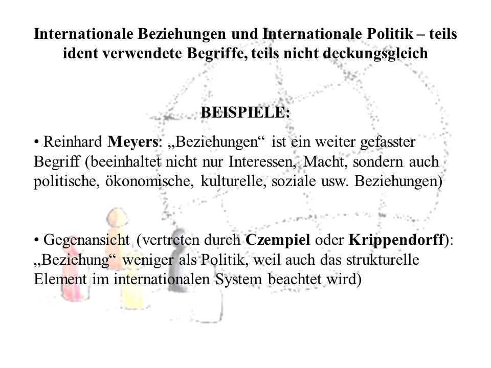 Internationale Beziehungen und Internationale Politik – teils ident verwendete Begriffe, teils nicht deckungsgleich BEISPIELE: Reinhard Meyers: Bezieh
