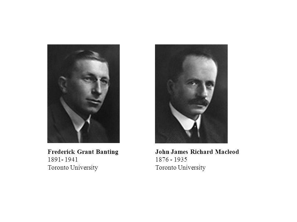 John James Richard Macleod 1876 - 1935 Toronto University Frederick Grant Banting 1891- 1941 Toronto University