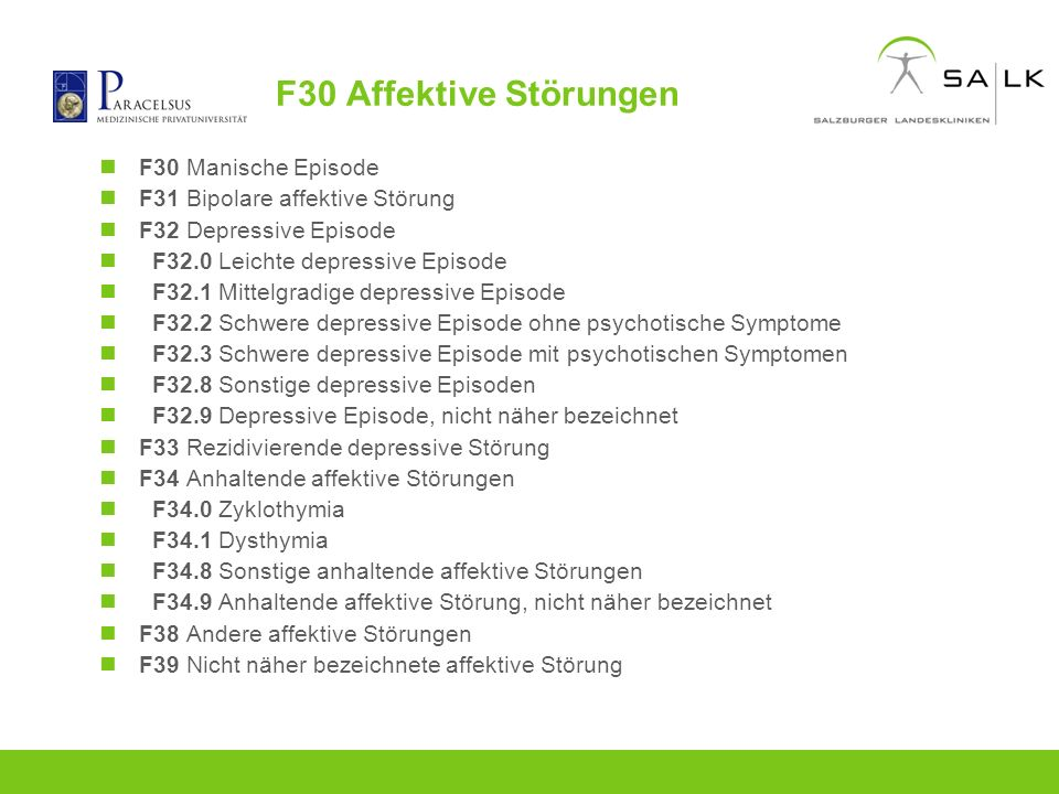 F30 Affektive Störungen F30 Manische Episode F31 Bipolare affektive Störung F32 Depressive Episode F32.0 Leichte depressive Episode F32.1 Mittelgradig