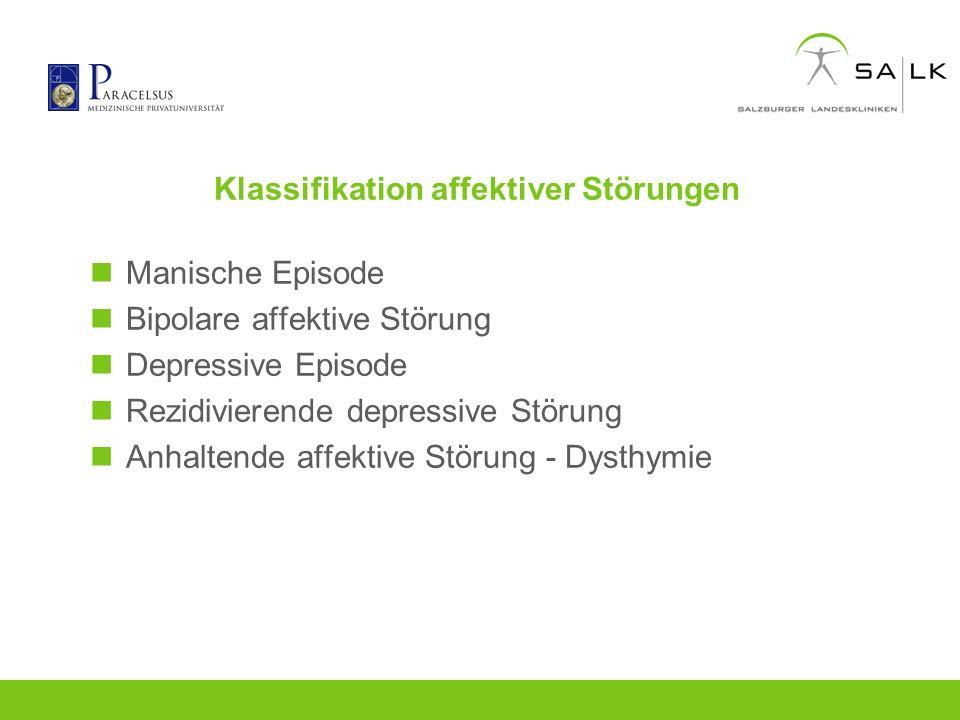 Klassifikation affektiver Störungen Manische Episode Bipolare affektive Störung Depressive Episode Rezidivierende depressive Störung Anhaltende affekt