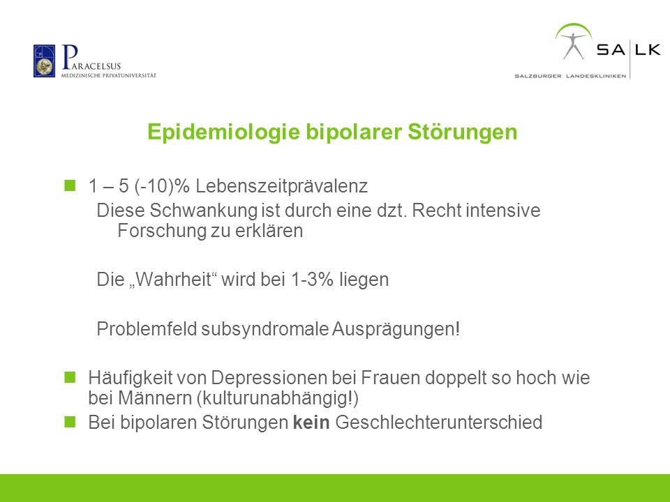 Epidemiologie bipolarer Störungen 1 – 5 (-10)% Lebenszeitprävalenz Diese Schwankung ist durch eine dzt. Recht intensive Forschung zu erklären Die Wahr