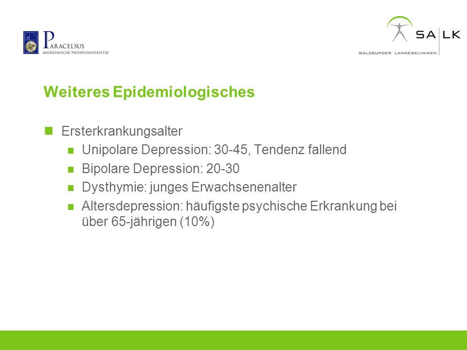 Weiteres Epidemiologisches Ersterkrankungsalter Unipolare Depression: 30-45, Tendenz fallend Bipolare Depression: 20-30 Dysthymie: junges Erwachsenena