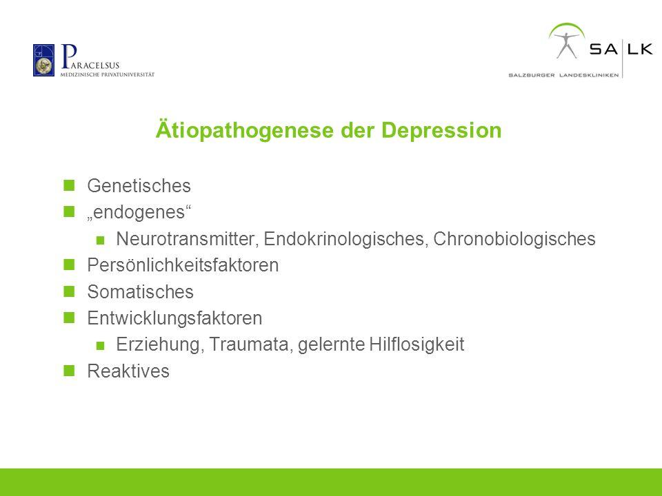 Ätiopathogenese der Depression Genetisches endogenes Neurotransmitter, Endokrinologisches, Chronobiologisches Persönlichkeitsfaktoren Somatisches Entw