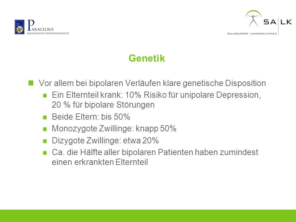Genetik Vor allem bei bipolaren Verläufen klare genetische Disposition Ein Elternteil krank: 10% Risiko für unipolare Depression, 20 % für bipolare St