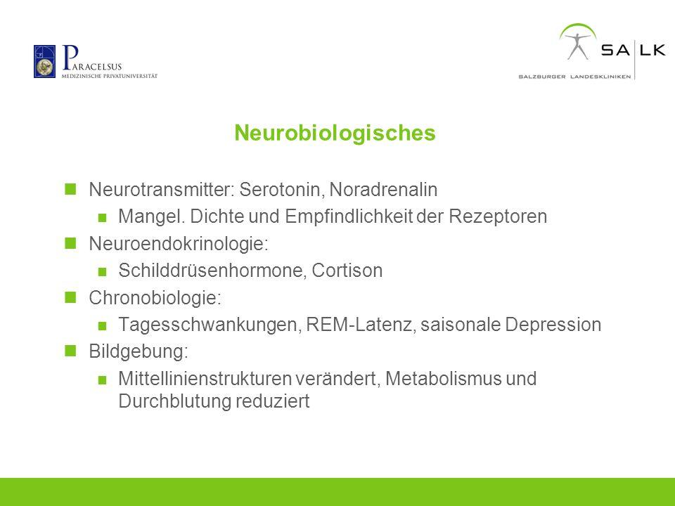 Neurobiologisches Neurotransmitter: Serotonin, Noradrenalin Mangel. Dichte und Empfindlichkeit der Rezeptoren Neuroendokrinologie: Schilddrüsenhormone