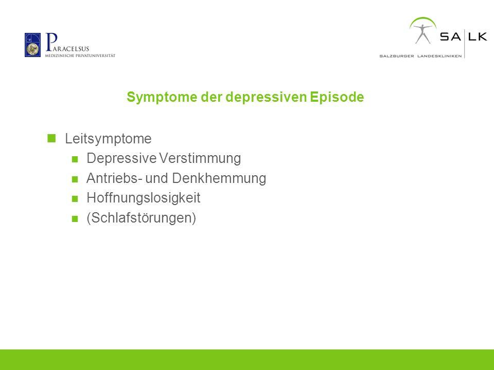 Symptome der depressiven Episode Leitsymptome Depressive Verstimmung Antriebs- und Denkhemmung Hoffnungslosigkeit (Schlafstörungen)