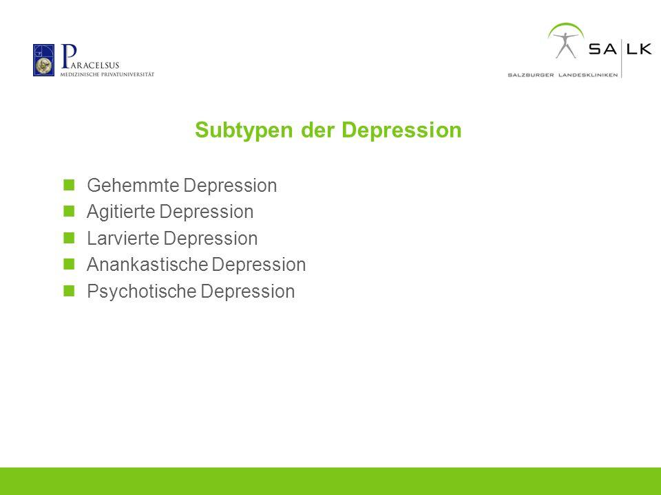 Subtypen der Depression Gehemmte Depression Agitierte Depression Larvierte Depression Anankastische Depression Psychotische Depression