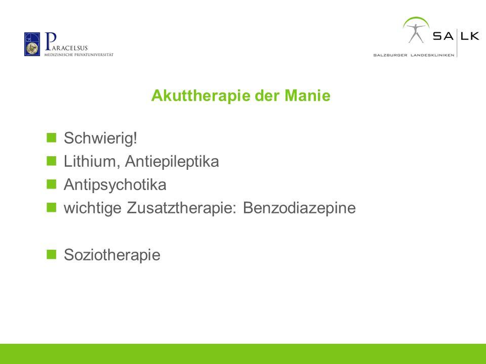 Akuttherapie der Manie Schwierig! Lithium, Antiepileptika Antipsychotika wichtige Zusatztherapie: Benzodiazepine Soziotherapie