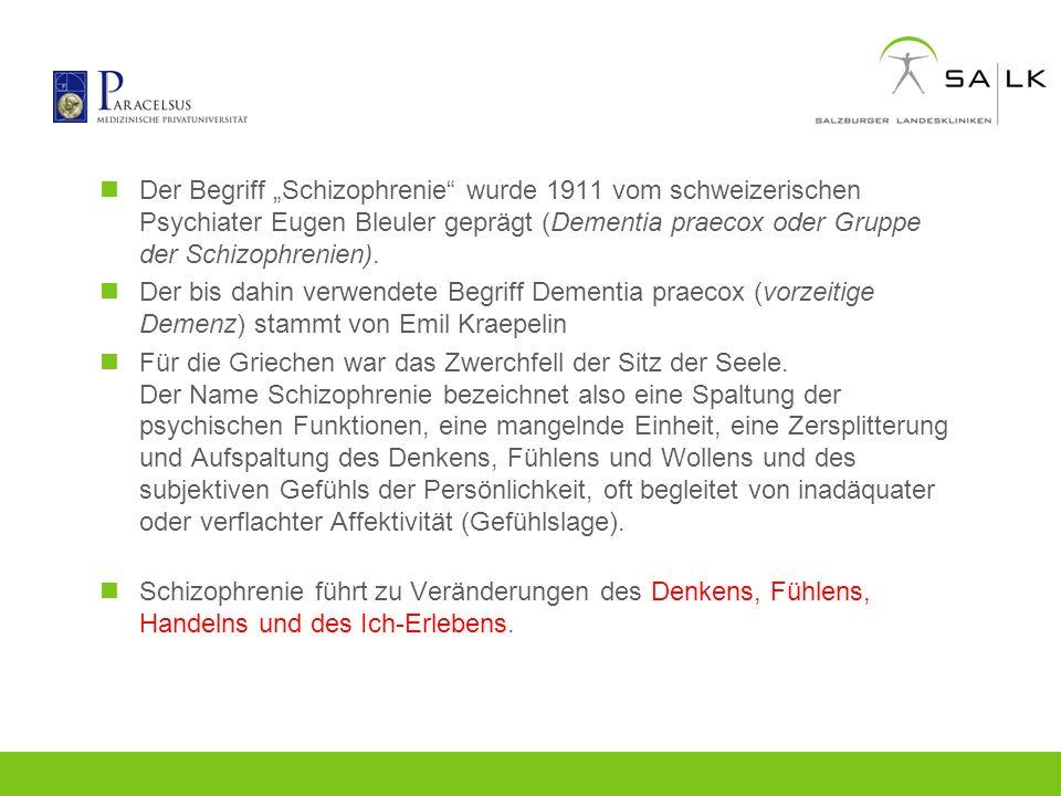 Der Begriff Schizophrenie wurde 1911 vom schweizerischen Psychiater Eugen Bleuler geprägt (Dementia praecox oder Gruppe der Schizophrenien). Der bis d