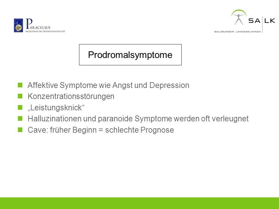 Prodromalsymptome Affektive Symptome wie Angst und Depression Konzentrationsstörungen Leistungsknick Halluzinationen und paranoide Symptome werden oft
